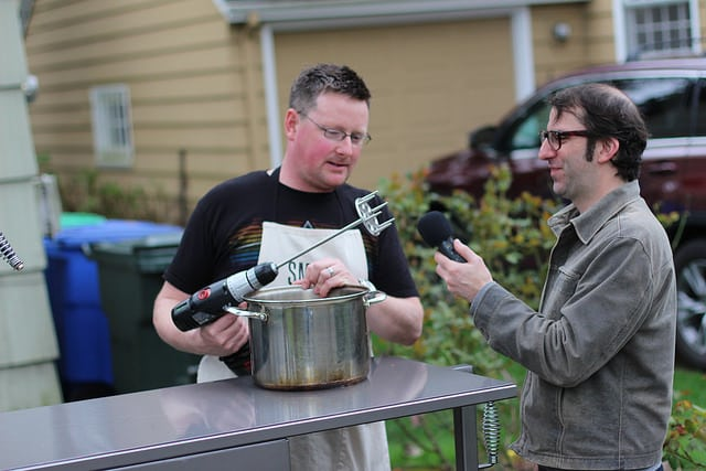 pulling pork with power tools
