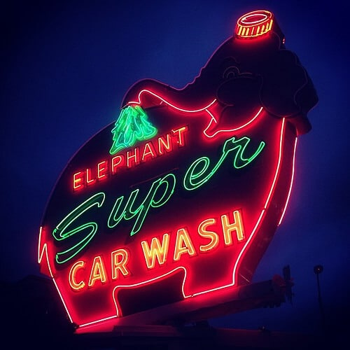 neon elephant car wash sign seattle