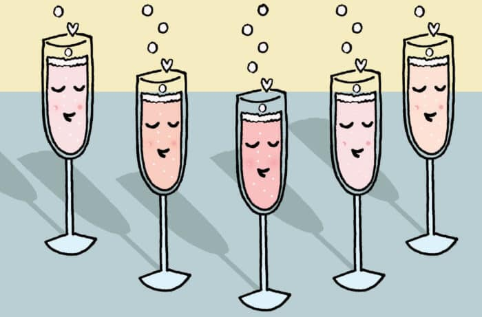 A Champagne flute illustration by CakeSpy