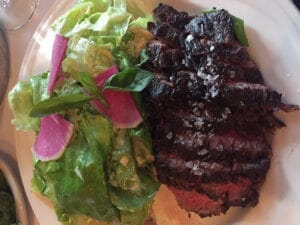 Yes, you can have white wine with steak. Bavette cut at Keens.