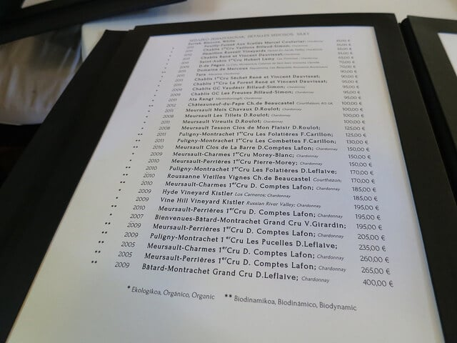 A page from a restaurant wine list.