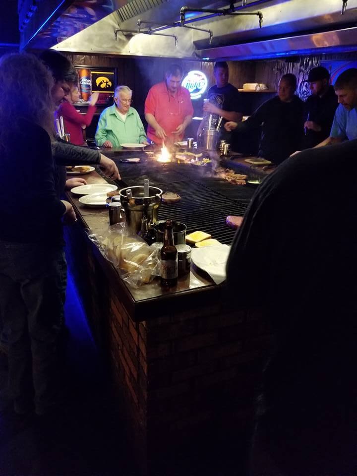 The grill at Rube's Steakhouse in Montour, Iowa.