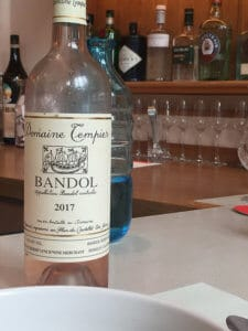 A bottle of Domaine Tempier rosé at Scampi in New York.