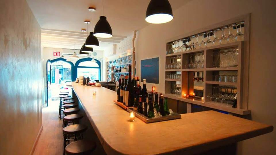 A view of the narrow, charming Ruffian wine bar in the East Village.