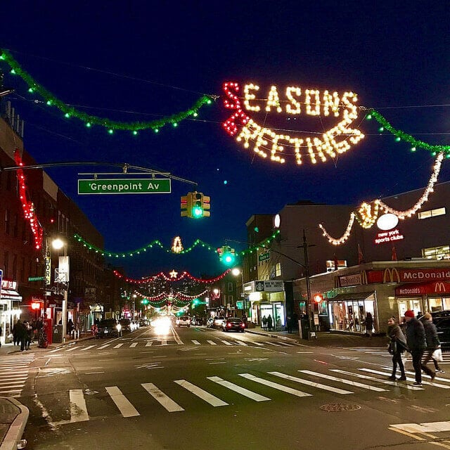 Greenpoint Ave Brooklyn with holiday lights.