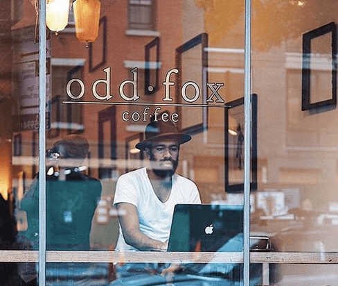 A view into Odd Fox Coffee, which is located in Brooklyn's Greenpoint neighborhood.
