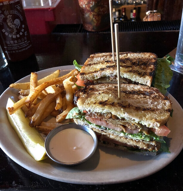 A vegan tempeh club sandwich at the Royal Tavern in Philadelphia
