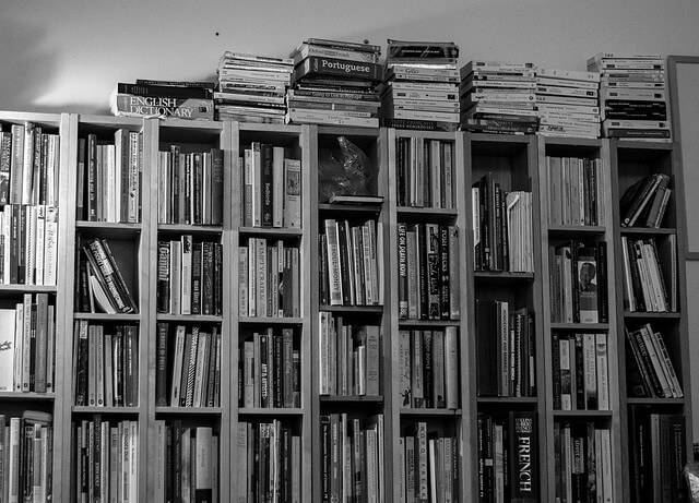 Photo of bookshelf in black and white illustrating Favorite Books 2019 list.